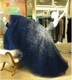 Blue Bridal Ball Gowns Beads Crystal Real Evening Dress Ya65