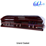 High Gloss Mahogany Veneer Velvet Canada Local Coffin and Casket
