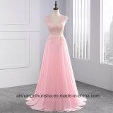 Rose Wedding Dresses V-Neck Floor Length Chiffon with Lace Ruffle