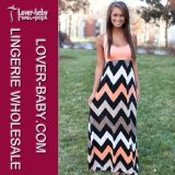 Coral Chevron Tank Maxi Womens Fashion Wear Dress (L51189-2)