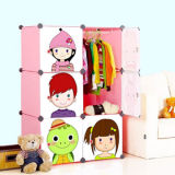 2014fashion Modorn Living Room Folding Wardrobe Cabinet with Storage Box in Cartoon Doors