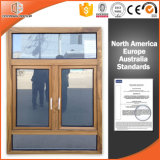 Solid Wood Clad Thermal Break Aluminum Casement Window, Heat-Insulation Aluminum Casement Window with Top Fixed Circle