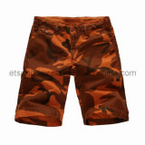 Orange Camouflage Printed 100% Cotton Men′s Shorts (FB65-3114)