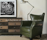 Wing Back Antique Leisure Leather Sofa Chair (High Back) (RF-5006)
