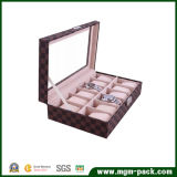 PVC Window PU Leather 12 Slots Watch Box with Pillow