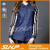 Wholesale Ladies Fashion Jeans Shirt with Chiffon Long Sleeve