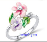 2014 Flower Shape Rhodium Plated Epoxy Resin Jewelry (R306963)