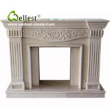 Beige Marble Stone Fireplace with Flower Carving for Indoor Decoration
