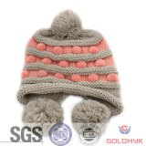 Fashion Design Acrylic Knitted Hat with Earflap and Pompom