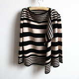 Ladies Fashion Acrylic Knitted Striped Cardigan Sweater (YKY2012)