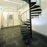 Decorative Indoor Wood Glass Tread Spiral Staircase