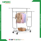 Double Bar Collapsiable Rolling Garment Rail Rack