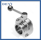 Hygienic Stainless Steel SS304 Welding 4 Stops Butterfly Valve with Pull Handle