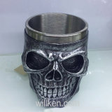Halloween Skull Cup Mug for Coffee Beer Wine, Stainless Steel and Resin