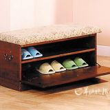 Comfortable Hand-Woven Solid Wood Modern Shoe Cabinet