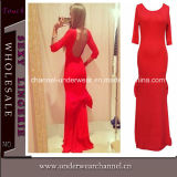Red Lady Low Back Bridesmaid Dress (T6814)