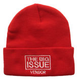 Embroidered Winter Fashion Knitted Beanie Red Hat