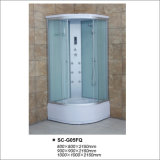 Sliding Door Shower Cabin with Tempered Fabric Glass