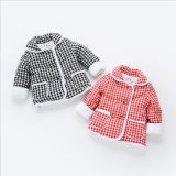 Girl Plaid Cotton Coat with Double Pockets for Kids Clothing
