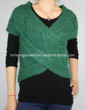 Ladies Knitted Shour Sleeve Pullover Sweater for Casual (12AW-017)