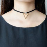 Black Leather Chain Choker Rhinestone Gold Plated Triangle Pendant Necklace