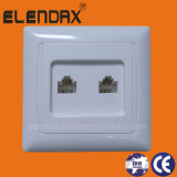 European Style Flush Mounted Tel Socket Double, Double Telephone Socket Rj11 (F6207)