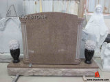 China Mahogany Pink Granite Column Headstone Monument