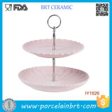 Ceramic Portable Wedding Birthday Double-Deck Cake Stand