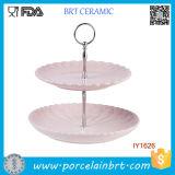 Ceramic Portable Wedding Birthday Double-Deck Cake Stand