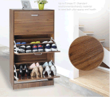 Good Quality with Wood Color Three Doors Model Shoe Cabinet