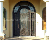 Modern Style Wrought Iron Single Door with Eyebrow Arch Top for Entrance Door