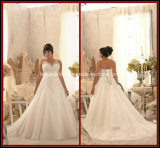 Ball Gowns Plus Size Beads Tulle White Appliques Bridal Wedding Dress Rr9007