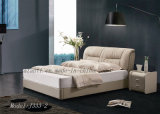New Design Modern Square Leather Bedroom Furniture Bed (J333-2)
