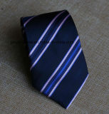 Business Style Poly Jacquard Navy Striped Necktie
