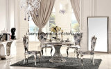 6 Person Marble Top Stainless Steel Base Round Dining Table