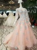 Nude Pink Bishop Sleeve Blue White Lace Evening Prom Dress