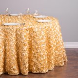 Rosette Embroider Table Cover for Wedding Hotel Party and Restaurant Round Tables Decoration