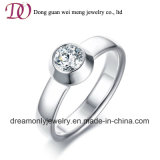 Round Stone CZ Casting Wedding Ring Engagement Ring Stainless Steel Ring