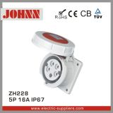 IP67 5p 16A Straight Panel Mounted Socket for Industrial