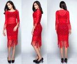 100% Hand Crochet Cotton Fringe Flower Evening Party Skirt Dress