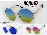 Irregular Shape Half Rim Frame Km16303 Latest Design Metal Sunglasses Muti-Colored Lens