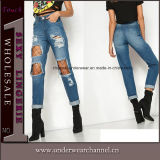 New Fashion Ladies Stretchy Skinny Ripped Denim Pants Jeans (TXXL246)