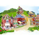 Children Early Learning Educational Wooden 3D Puzzle Doll House Assemble Puzzle Toys