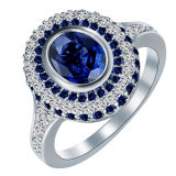 Silver Wedding Rings Large Round Royal Blue Crystal White CZ