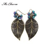 Leaf Custom Alloy Casting Glass Earrings Imitation Jewelry for Woman