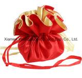 Fashion Customized Red Drawstring Satin Circle Wrapper