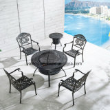 Hot Sale Patio Furniture Aluminum Round Coffee Table with Four Chairs