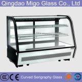 Serigraphy Cake Display Cabinet Glass Curved Front Cover Glass