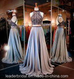 Halter Prom Party Gowns Silver Beading Formal Evening Dresses Z5013