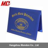 Custom Foil Gold Logo Pinhole Leather Certificate Folder Wholesale